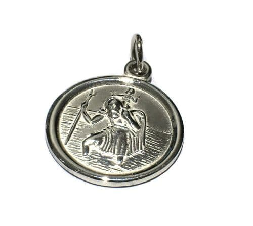 St. Christopher Bike Cyclist Pendant Solid Sterling Silver 5 Grams Handmade